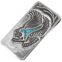 Silver Turquoise Money Clip 34396