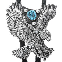 Large Silver Turquoise Eagle Bolo Tie 34398