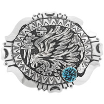 Navajo Silver Overlay Eagle Belt Buckle 34401