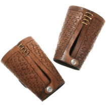 Pair of Stamped Leather Bow Guard Arm Bands 34413