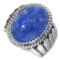 Denim Lapis Silver Mens Ring 34414