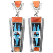 Turquoise Zuni Kachina Silver Earrings 34415