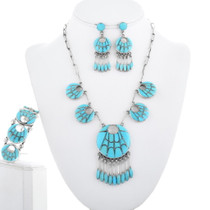 Old Pawn Zuni Turquoise Inlay Necklace Set 34429