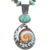 Iridescent Shell Pendant Turquoise Bead Necklace 34431