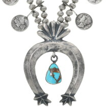 Sterling Silver Coin Navajo Squash Blossom 34432