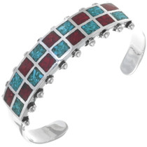 Inlaid Turquoise Coral Navajo Bracelet 34436