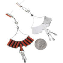 Arvina Pinto Coral Needlepoint Earrings Zuni Made 34438