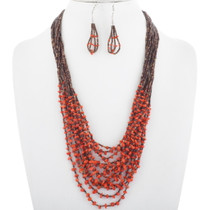 Coral Bead Heishi Necklace Set 34439
