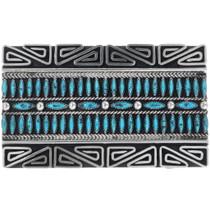 Vintage Navajo Geometric Pattern Turquoise Belt Buckle 34443
