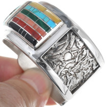 Sterling Silver Sunface Multi Stone Rainbow Inlay Bracelet 34444