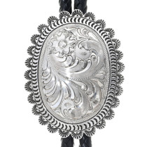 Western Engraved Sterling Silver Bolo Tie 34446
