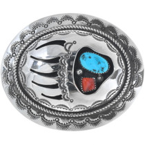 Turquoise Coral Bear Paw Belt Buckle
