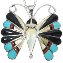 Inlaid Zuni Butterfly Pendant Pin 34459