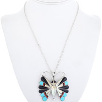 Turquoise Coral Sterling Silver Butterfly Pendant 34459