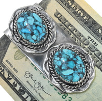 Navajo Turquoise Silver Money Clip 12953