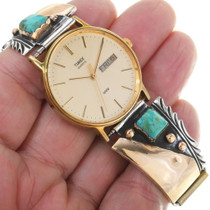 Sterling Silver Turquoise Navajo Watch 34475