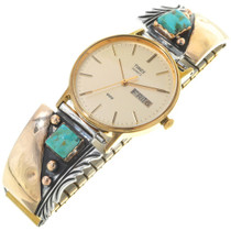 Vintage Mens Turquoise Gold Watch 34475