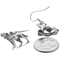 Silver Howling Wolf Dangle Earrings 34480