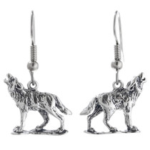 Navajo Sterling Wolf French Hook Earrings 34480