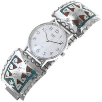 Old Pawn Inlaid Turquoise Mens Watch 34481