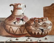 Pueblo Scene Broken Pottery Still Life Painting 34487