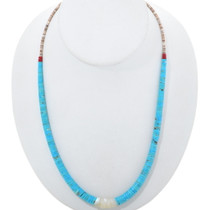 Vintage Turquoise Heishi Shell Necklace 34488