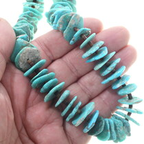 Natural Turquoise Nugget Bead Heishi Necklace 34503