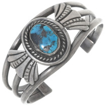 Old Pawn Bisbee Turquoise Silver Cuff Bracelet 34512