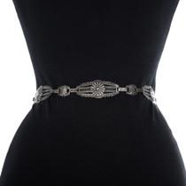 Vintage Sterling Silver Link Concho Belt 34519