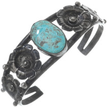 Old Pawn Silver Turquoise Flower Bracelet 34523