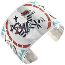 Vintage Zuni Clown Kachina Silver Cuff Bracelet 34536