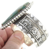 Green Turquoise Sterling Silver Navajo Cuff Bracelet 34539