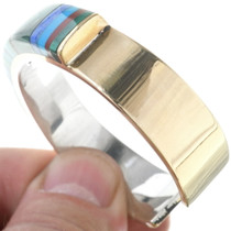 Sterling Silver Gold Mosaic Inlay Bracelet 34545