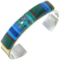 Vintage Turquoise Lapis Inlay Gemstone Bracelet 34545
