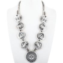 Old Pawn Overlaid Silver Navajo Necklace 34559