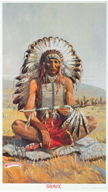 Sioux Indian Chief Winchester Poster 1976 Print 34567