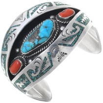 Old Pawn Turquoise Shadowbox Cuff Bracelet 34573