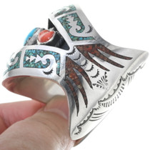 Navajo Turquoise Inlay Sterling Silver Bracelet 34573