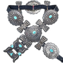 Old Pawn Silver Turquoise Concho Belt 34580
