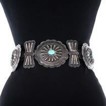 Vintage 1950s Native American Sterling Silver Concho Belt 34580