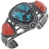 Navajo Turquoise Coral Antiqued Sterling Bracelet 34581