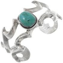 Vintage Turquoise Sandcast Sterling Bracelet 34583