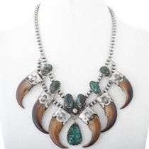 Old Pawn Bear Claw Turquoise Squash Blossom Necklace 34585