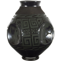 Dark Green on Black Mata Ortiz Olla Pottery 34589