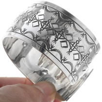 Sterling Silver Navajo Geometric Pattern Cuff Bracelet 34599