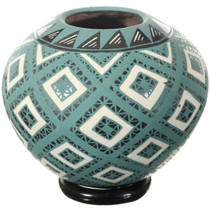 Mata Ortiz Hand Painted Turquoise Olla Pottery 34603