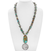 Navajo Turquoise Nugget Coin Necklace 17380