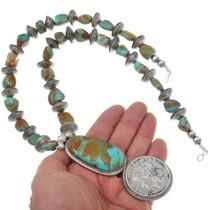 Kingman Turquoise Silver Dollar Necklace 17380