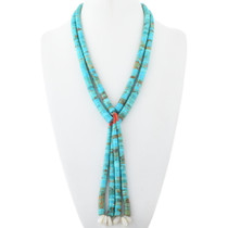Old Pawn Santo Domingo Turquoise Jacla Necklace 34618