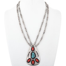Vintage 1960s Sterling Silver Native American Necklace 34622